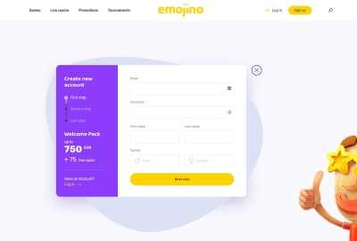 Emojino Sign up page